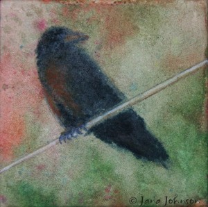 Crow on Wire - Green - © Jana R. Johnson