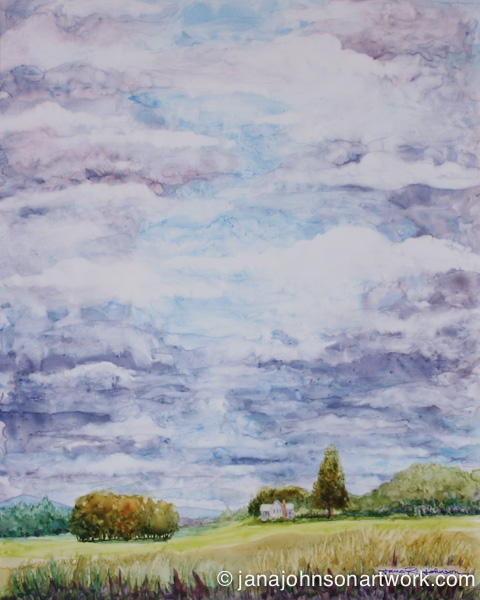 "© Jana R. Johnson c-Watercolor on Yupo-""Cloudy With Sun Breaks"" 8x10, 6-8-15."