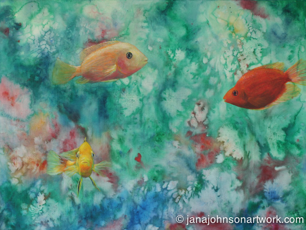 "c-Jana's painting ""Fins and Flora"" Acrylic and watercolor on canvas 18x24"