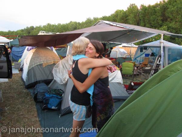 ©Jana R. Johnson janajohnsonartwork.com/blogc-Oregon Country Fair week - Day 2 - Wednesday - Sign Barn & our camp scenes.