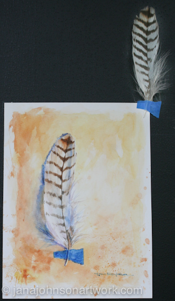 ©Jana R. Johnson janajohnsonartwork.com/blog c-Feather 4 - by Jana - watercolor on hotpress paper painted 7-23-15