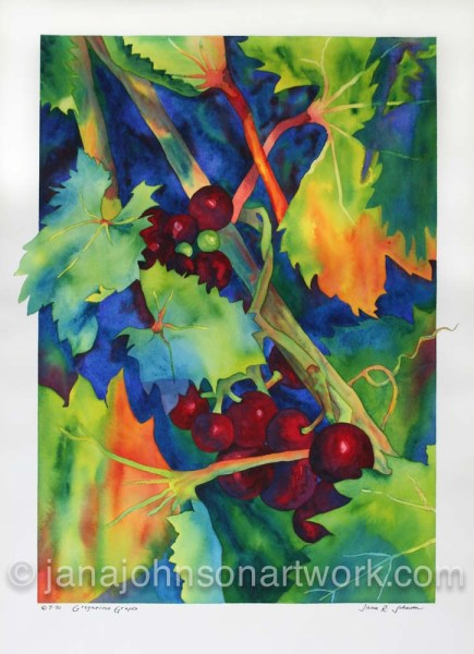 "© Jana R. Johnson janajohnsonartwork.com/blog""Gregarious Grapes"""